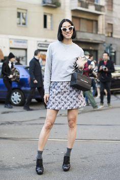 12 looks with Eva Chen | A Love is Blind - outside Dolce Gabbana, fashionweek fw 2014, eva chen
