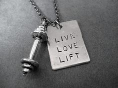 LIVE LOVE LIFT Barbell Necklace - Workout Necklace on 18 inch Gunmetal chain or Stainless Steel Ball chain - Unisex Workout - Fitness - Lift...