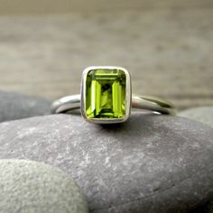 Emerald Cut Peridot Ring, Solitaire or Stacker Rings, Sterling Silver Gemstone Jewelry, August Birthstone Ring by onegarnetgirl on Etsy https://www.etsy.com/listing/57809722/emerald-cut-peridot-ring-solitaire-or