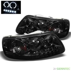 For Smoked 97-03 Ford F150 Twin Halo LED Pro Headlights Sm Head Lights Lamp
