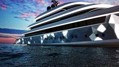 van geest design + oceanco moonstone yacht blends to surroundings with embedded lighting
