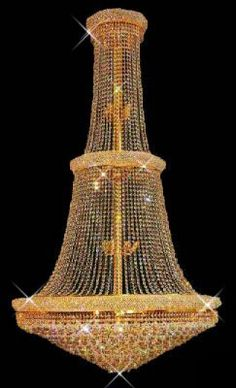"Bagel Design 38-Light 72"" Gold Chandelier with European or Swarovski Crystals $1,827.00"