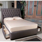 Cambridge Upholstered Storage Bed by Seahawk Designs | Fabric Upholstered Bed Platform Headboard Under Storage Drawers Complete