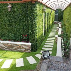 Hedges Landscaping, Side Yard Landscaping, Landscaping Retaining Walls, Backyard Walkway, Natural Landscaping, Landscape Walls, Landscape Design, Outdoor Fencing, Garden Nook