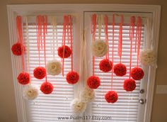 6-inch ($10/ea) coral rose wedding pomander balls and 8-inch ($15/ea) ivory rose wedding pomander balls. Handmade. Custom orders welcome! Shown with long loose ribbons to hang from tree branches or gazebos. www.Psalm117.Etsy.com