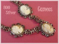 800 Silver Filigree 3 Shell CAMEO Necklace   by FindMeTreasures  @@ FREE SHIPPING @@