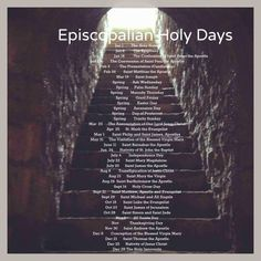 Episcopalian Holidays, Holy Days, Feast Days