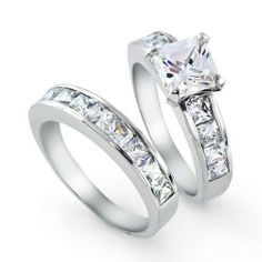 Bling Jewelry 2ct. CZ Princess cut Engagement Wedding Ring Set Sterling Silver Bling Jewelry. $49.99. Engagement Wedding Ring Set. Center stone is 6mm x 6mm approximately 2ct. Side stones are 3mm x 3mm approximately 0.3ct each.. Princess Cut Cubic Zirconia. Rhodium finish to resist tarnish and add shine. .925 Sterling Silver