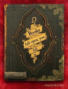 """""""Books fall open, you fall in."""""""