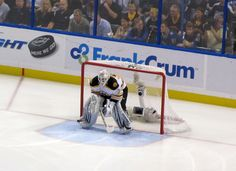 Tim Thomas in net for the Boston Bruins vs. The Tampa Bay Lightning in Florida - May, 2011. The Bruins went on to win the Stanley Cup that season!