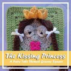 A princess with kissable lips. The fourth in a compilation of granny squares designed around a Fairy Tale theme. Find more squares here! The Kissing Princess Skill Level: Easy Materials: Double knitting/light worsted yarn (No 3) Approx 25 grams of beige and green Small amounts of double knitting/light worsted yarn in pastel yellow, dark pink and brown for hair Small amounts of double knitting/light worsted yarn in black and white/cream Hooks 4, 00 mm & 3, 50 mm Yarn Ne...