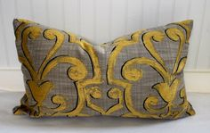 Grey and Gold Medallion Pillow Cover / 14 x 24 / by StitchandBrush