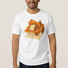 construction road roller retro tee shirt. vector illustration of a construction road roller viewed from a low angle from front side done in art deco retro style. #vectorillustration #constructionroadroller