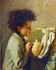 by Antonio Mancini, 1852-1930, Italy.  beautiful boy reading