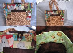 A multi-faceted view of my Jungle Babies print diaper bag from https://www.facebook.com/pages/Its-Sew-Made/279881392076476