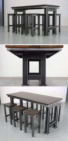 The Grand Artisan Bar Table - impressive industrial style table with chunky steel legs that will be the focal point of any contemporary living or workspace.
