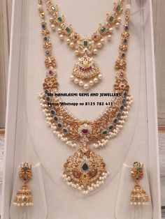 Beautiful gold necklace and long haaram. Necklace with pearl hangigns. Long haaram with guttapusalu hangings. Bridal set with matching earrings. Bridal Sets new variety added. Visit for best designs ready selection or express delivery on made to order. Contact no 8125 782 411 18 December 2018