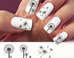 3Looking simply amazing in plain white matte background. The Dandelions are thinly drawn using a black polish with such intricate and interesting details