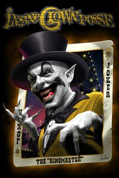 "Art Gallery and Online Store for Tom Wood""s fantasy artworks, including his famous Dragons and depictions of the Insane Clown Posse - ICP. Joker Clown, Clown Mask, Creepy Clown, Joker Playing Card, Joker Card, Clown Tattoo, Insane Clown Posse, Dark Circus, Clown Faces"