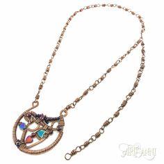 Natural stone and hematite copper necklace #Artisanni #wirework