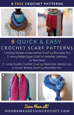 Brrr! It is getting so cold outside! Here are 8 quick and easy crochet scarf patterns you can make to wear, or gift, to stave off that winter chill! All 10 of these patterns are available for free. #freepatterns #crochetscarf #crochet Crochet Scarfs, Crochet Shawl, Crochet Beanie, Crochet Yarn, Crochet Clothes, Quick Crochet, Crochet Round, Free Crochet, Scarf Design