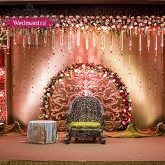 A beautiful seating area for the bride m groom . Also make it peacock style on mehendi or such event