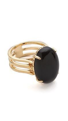 Berlin Oval Cabochon Ring - Black Onyx