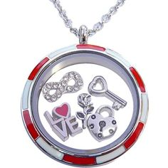 Valentines Set with Stainless Steel Locket and 5 Charms Plus Necklace ** More info could be found at the image url.