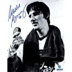 Mike Bossy Signed 50/50 Celebration Holding Puck 8X10 Photo