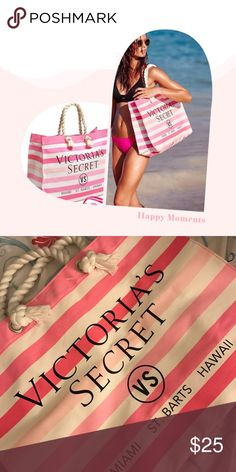 VS pink/white striped canvas beach tote. ▪️New without tag.  ▪️Rope straps.  ▪️Magnetic snap top closure.  ▪️No inside or outside pockets. Victoria's Secret Bags Totes
