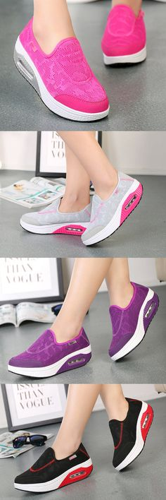 $20.21 Breathable Pure Color Swing Shoes Women Platform Casual Shoes,Casual sport shoes, Casual shoes ideas,Shoes flats for women