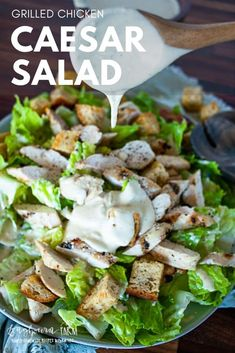 Grilled chicken caesar salad is the perfect light lunch or dinner. Homemade caesar salad dressing is easy to make and so delicious. Homemade Caesar Salad Dressing, Salad Recipes, Vegan Recipes, Grilled Chicken Caesar Salad, Salad Ingredients, Low Calorie Recipes, Food Processor Recipes, Weeknight Dinners, Vegane Rezepte