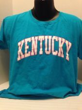 UNIVERSITY OF KENTUCKY, WOMEN'S, T-SHIRT, XL, ANVIL, TEAL ,PINK,WHITE