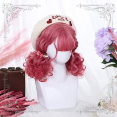 Lolita Girl's Wavy Bangs Synthetic Heat Resistant Cosplay Party Wig+Free Cap Kawaii Hairstyles, Pretty Hairstyles, Wig Hairstyles, Pastel Wig, Pink Wig, Cosplay Hair, Cosplay Wigs, Lolita Hair, Lolita Dress