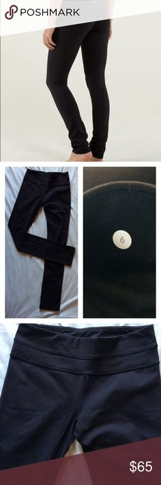 """Lululemon Skinny Groove Leggings Pants Black 6 Gently worn, Full-on Luon Skinny Groove pant. Small pocket tucked on waistband, medium rise, long slouch at cuff. Inseam is 34"""". No trades. lululemon athletica Pants Skinny"""