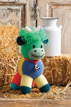 Patchwork Cow designed by Sheila Leslie in Red Heart Super Saver in the June 2016 issue of Crochet World