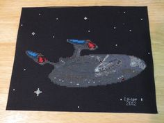 PDF Pattern available on page. This cross stitch pattern could be adjusted to make a pixelated quilt Perler Patterns, Quilt Patterns, Cross Stitch Designs, Cross Stitch Patterns, Cross Stitching, Cross Stitch Embroidery, Star Trek Cross Stitch, Nerd Crafts, Diy Crafts