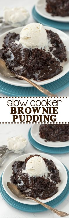 Slow Cooker Brownie Pudding - this easy recipe is so gooey and chocolatey! It's just like a crockpot lava cake but made with brownies! Brownie Pudding, Easy Meals, Slow Cooker, Cereal, Breakfast, Desserts, Recipes, Food, Tailgate Desserts