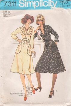 Simplicity 7311 1970s Misses  Shirt and Back Wrap Skirt and embroidery transfer vintage sewing pattern by mbchills,