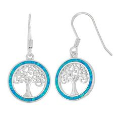 Sterling Silver Created Opal MOP or Abalone Tree of Life Circle Earrings -- To view further for this item, visit the image link.