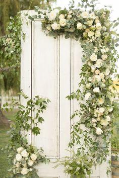 door with florals