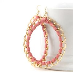 Pink Leather Hoop Earrings