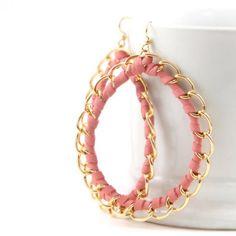 Pink Leather Hoop Earrings