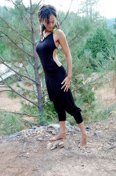 Favorite  Like this item?    Add it to your favorites to revisit it later.  Vinyasa Yoga Onezie With An Open Back In Black, meditation, chakra, love, sexy, comfortable, hippie onesie, Aladdin pants, afgani