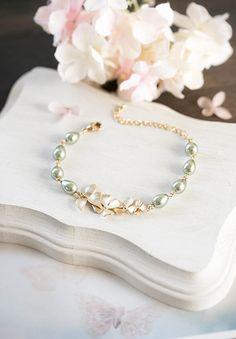 Gold Orchid Flower Sage Green Pearl Bracelet, Olive Sage Green Wedding Jewelry, Bridal Bracelet, Bridesmaid Bracelet, Valentines day Gift by LeChaim on Etsy https://www.etsy.com/listing/121792330/gold-orchid-flower-sage-green-pearl