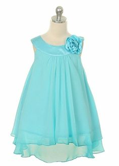 Amazon.com: Kid's Dream Girl's Turquoise Simple Chiffon Girl Dress: Clothing