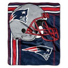 New England Patriots Blanket - 50x60 Royal Plush Raschel Throw - Touchback Design