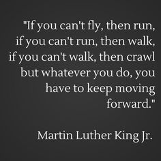 If you can't fly, then run, if you can't run, then walk, if you can't walk, then crawl but whatever you do, you have to keep moving forward. Martin Luther King Jr. Inspired.
