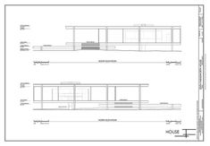 Must-Know Moderns - modern - exterior elevation - chicago Farnsworth House Plan, Casa Farnsworth, Title Block, House Slide, Building Sketch, Ludwig Mies Van Der Rohe, House Drawing, House Elevation, Cottage Design