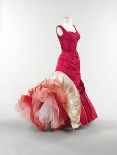 """Tree"" evening dress, 1955  Charles James (American, born Great Britain, 1906–1978)  Silk: rose pink taffeta; white satin; synthetic: red, pink, and white tulle"